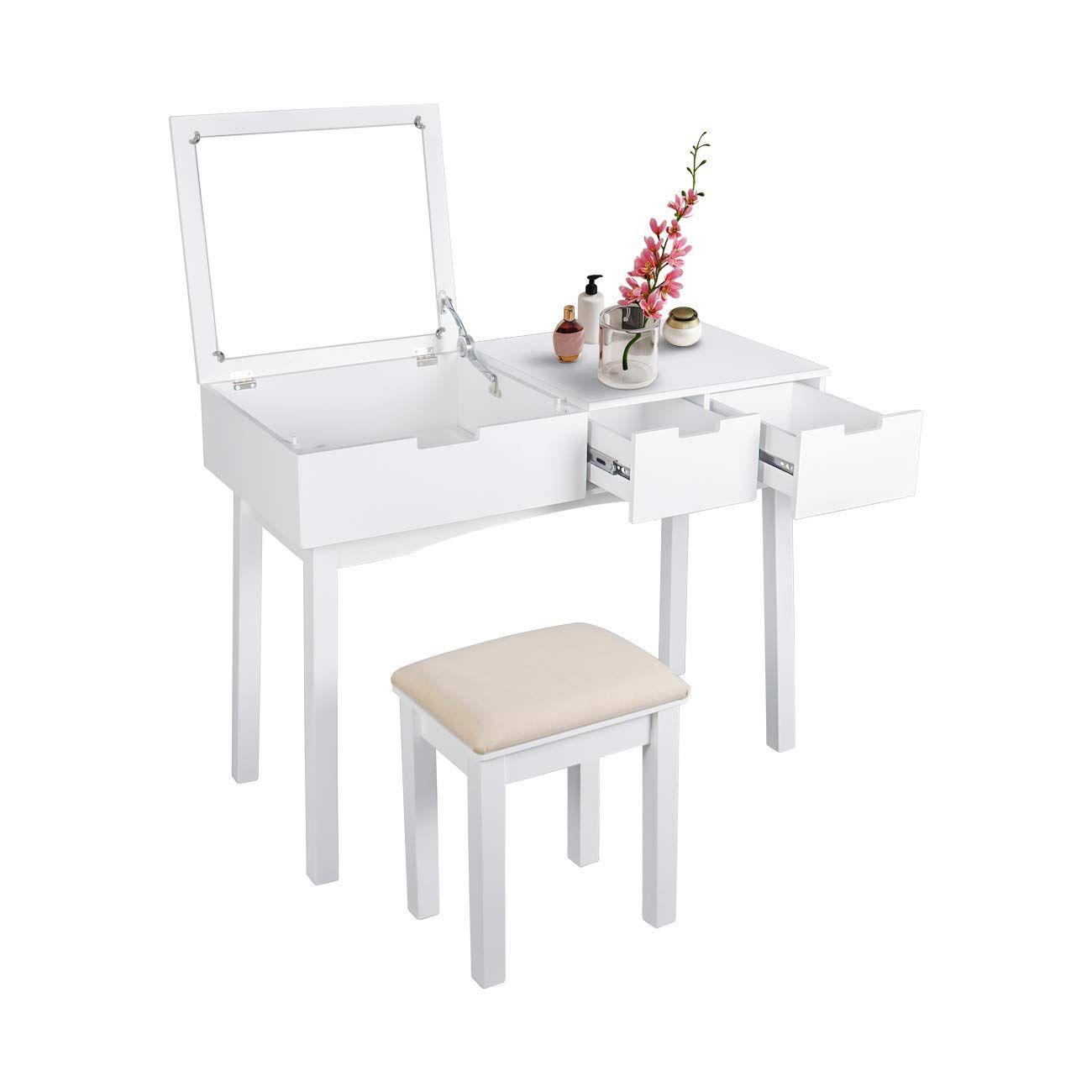 Vanity Table Set Makeup Flip-top Mirrored Dressing Table w// Stool 2 Drawer White
