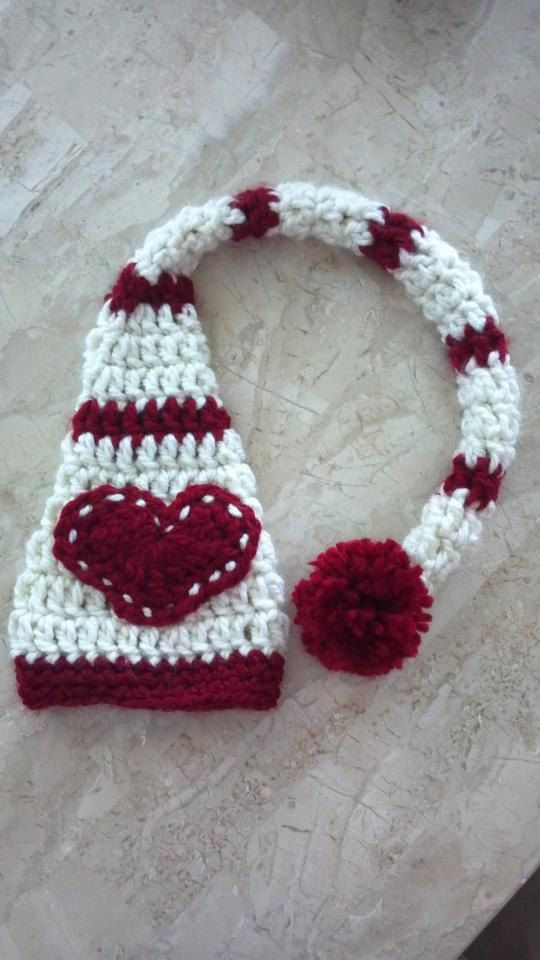 Valentines Day Crochet Elf Hat with Heart  by CapsbyChristine, $22.00