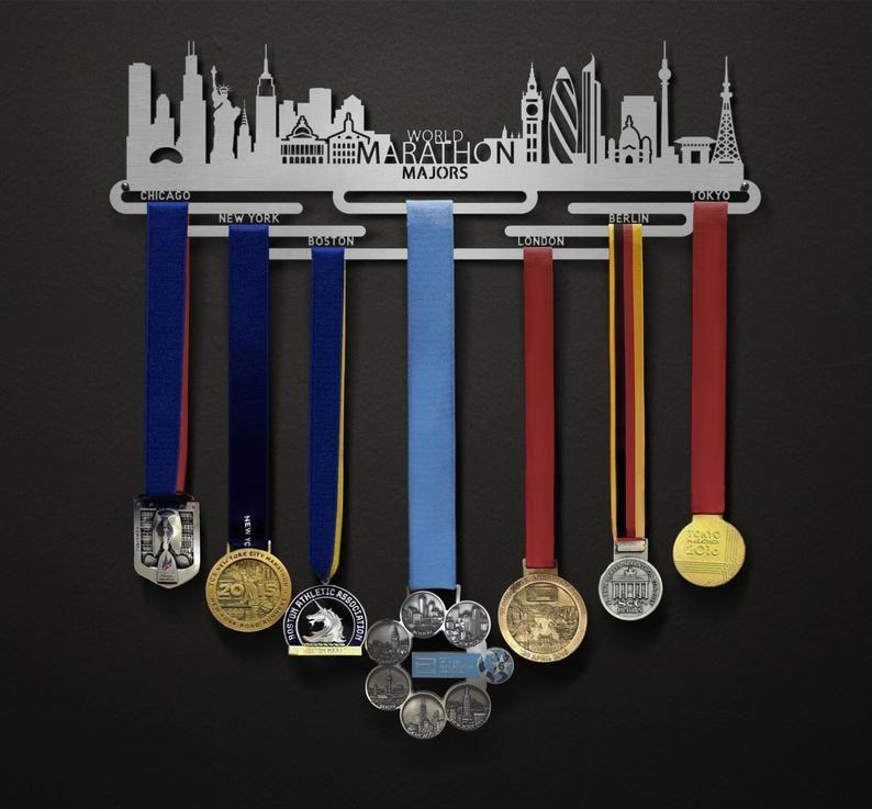 World Marathon Majors Cityscape Edition London Berlin Etsy Medal Display Marathon Medal Display Medal Hanger