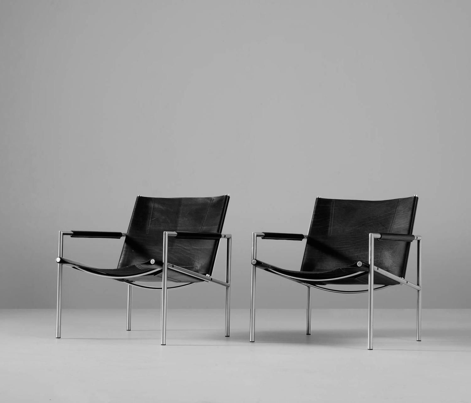Set of Two Armchairs by Martin Visser for t Spectrum   From a unique collection of antique and modern armchairs at https://www.1stdibs.com/furniture/seating/armchairs/