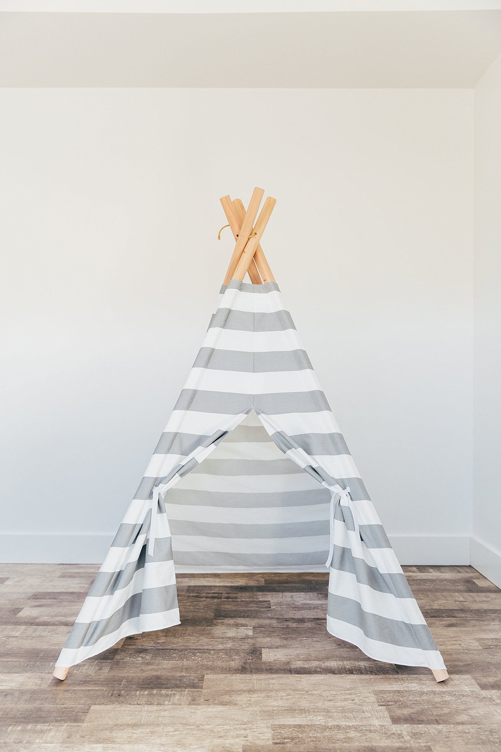 gray and white striped kids teepee play tent with padded