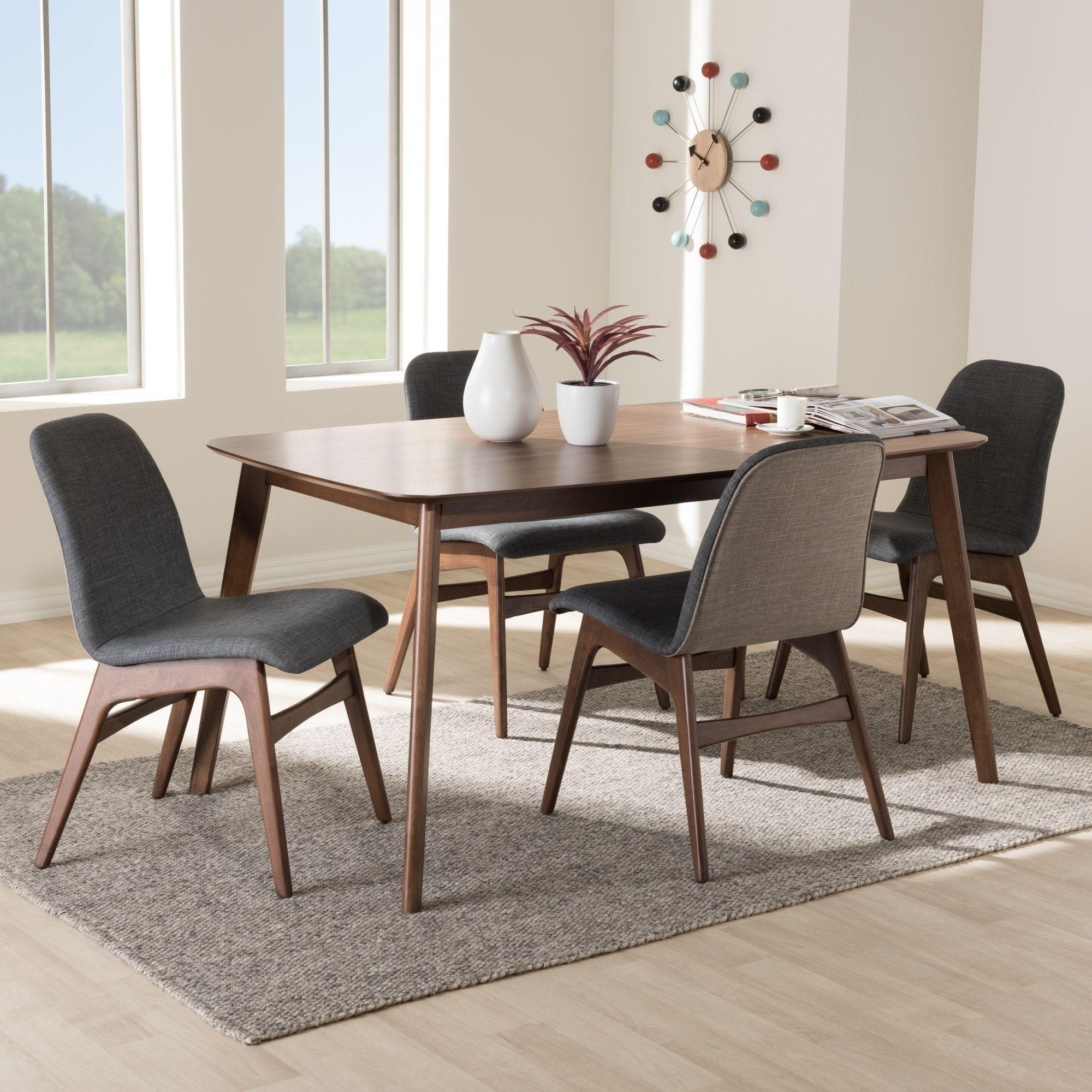 e2baab5851b06 Our Best Dining Room   Bar Furniture Deals. Carson Carrington Solna Mid- century Dark Grey Fabric 5-Piece Dining Set (Charcoal)