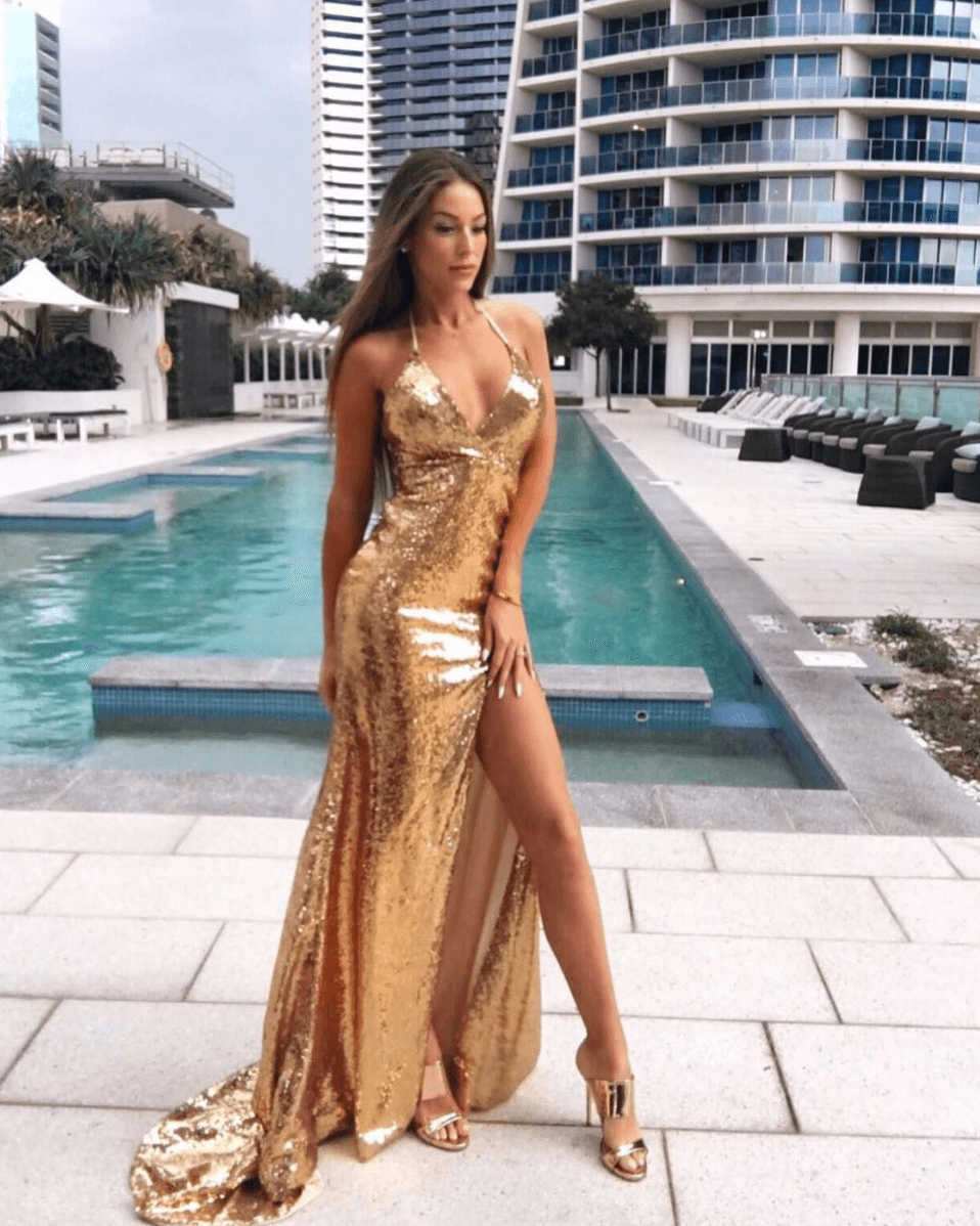 Simple Mermaid Gold Sequins Lace Prom Dresses Halter Backless Evening Formal Gowns Gold Formal Dress Prom Dresses Dresses [ 1198 x 958 Pixel ]