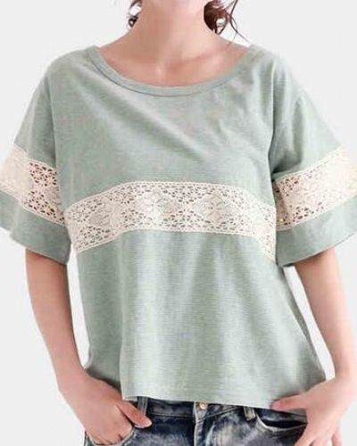 Cute lace splicing t shirt for women striped tshirt
