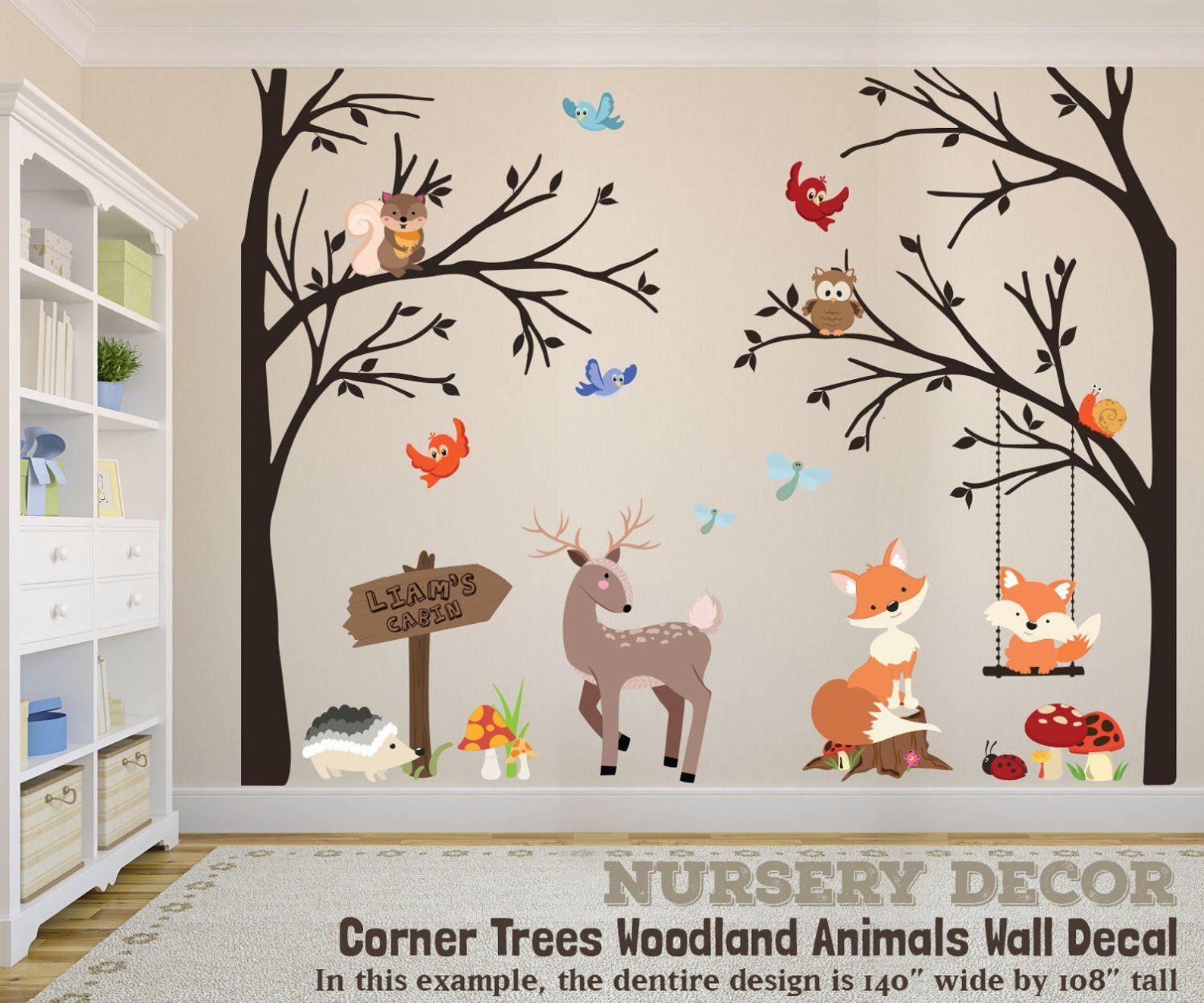 Woodland Nursery 2 Corner Trees Decor Wall Decal Trees Fox Nursery