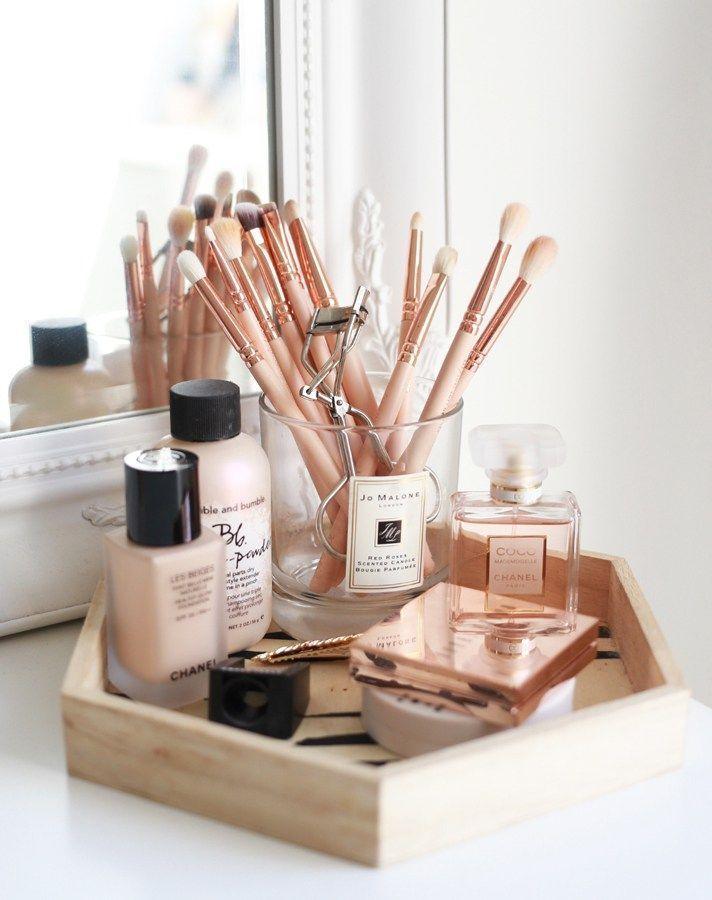 17 gorgeous makeup storage ideas  beauty  vanity organization ideas  wooden tray