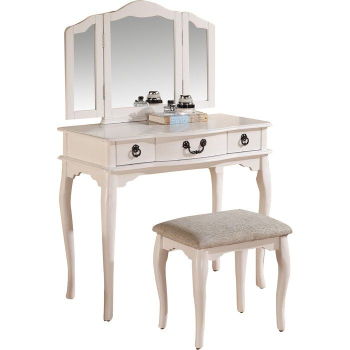 This Vanity Set Features A Mirror With Attached Movable Extensions And A Muti Drawer Table For Storage And Mirrored Vanity Table Vanity Set With Mirror Vanity