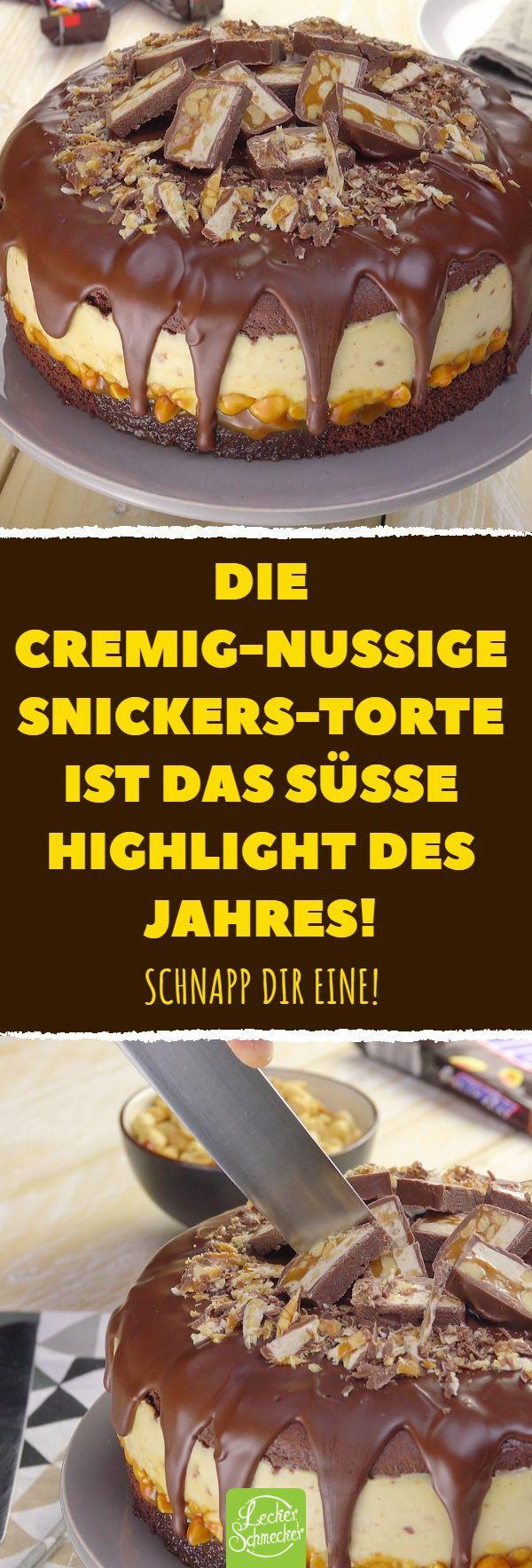 cremig-nussige Snickers-Torte ist das süße Highlight des Jahres!  - Leckerschmecker-#applepies