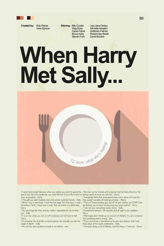 Mid-Century Modern inspired movie print based on When Harry Met Sally...12