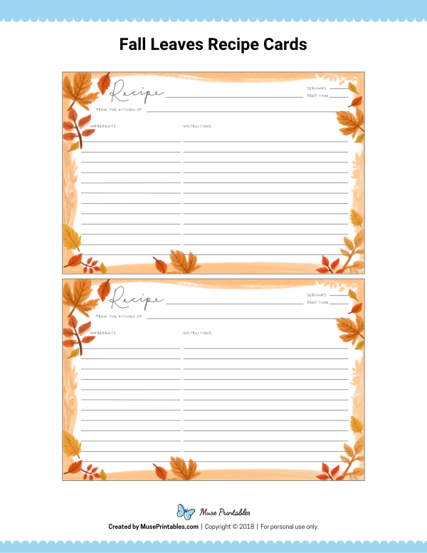 Free Printable Fall Leaves Recipe Cards The Cards Are Editable In Adobe Reader Download Them From H Recipe Cards Template Printable Recipe Cards Recipe Cards