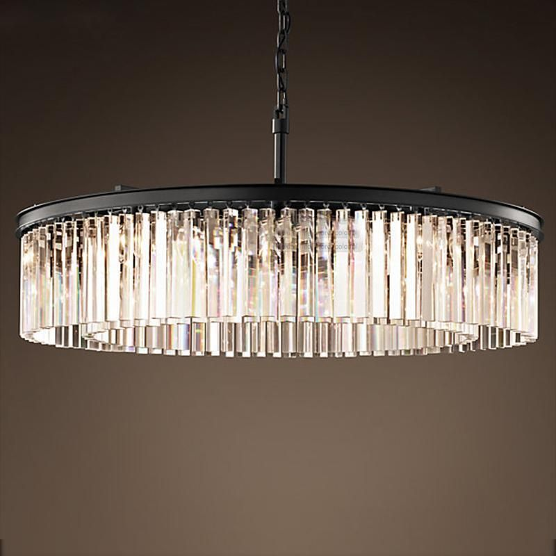 Crystal Chandelier Round Shape Lighting Lustres Suspension Luminaires Hanging Lamp American Style For Living Room Round Chandelier Crystal Chandelier Lighting Rustic Light Fixtures