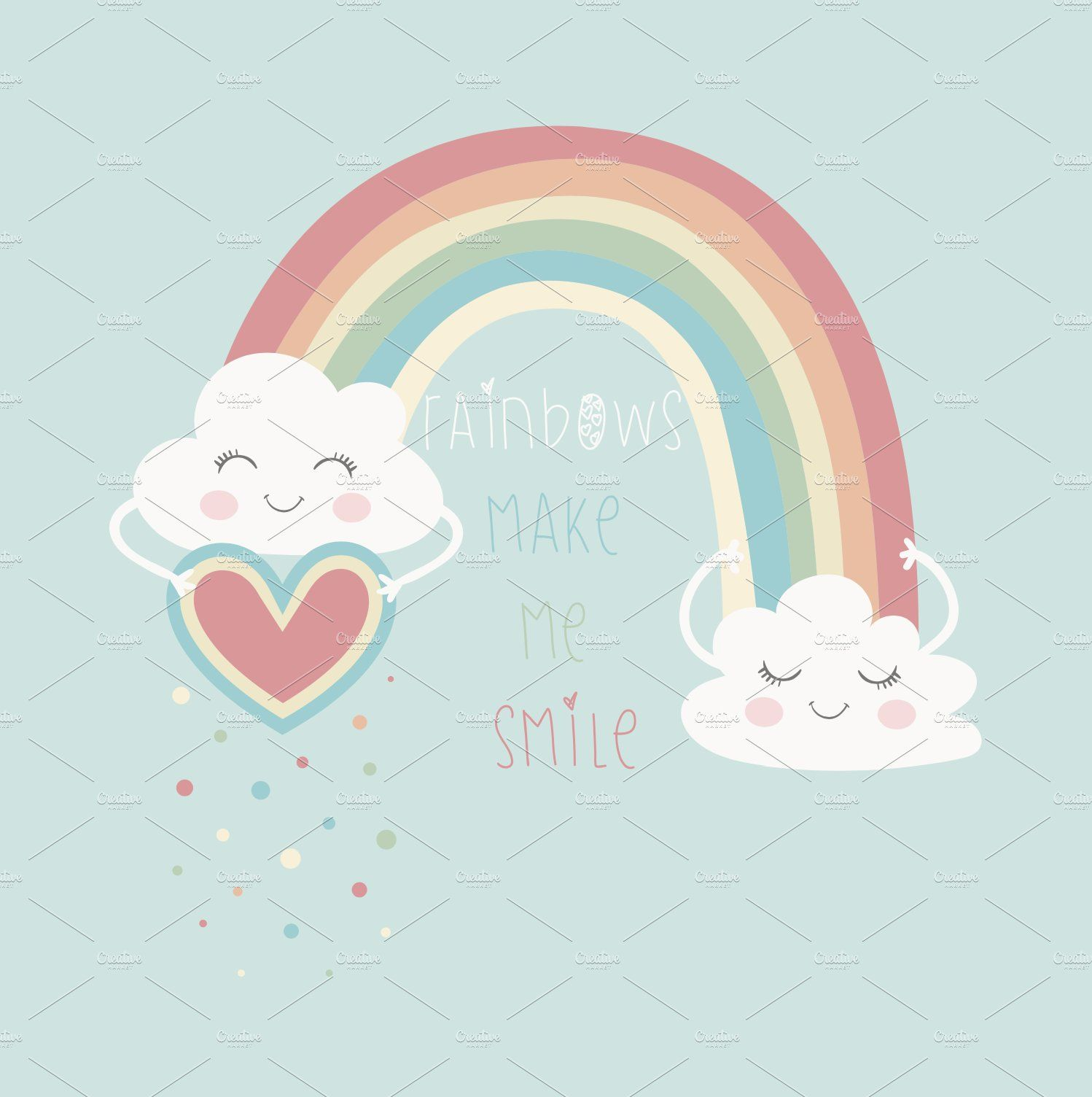 Cute Rainbow Vector T Shirt Graphics App Design Inspiration Rainbow Vector