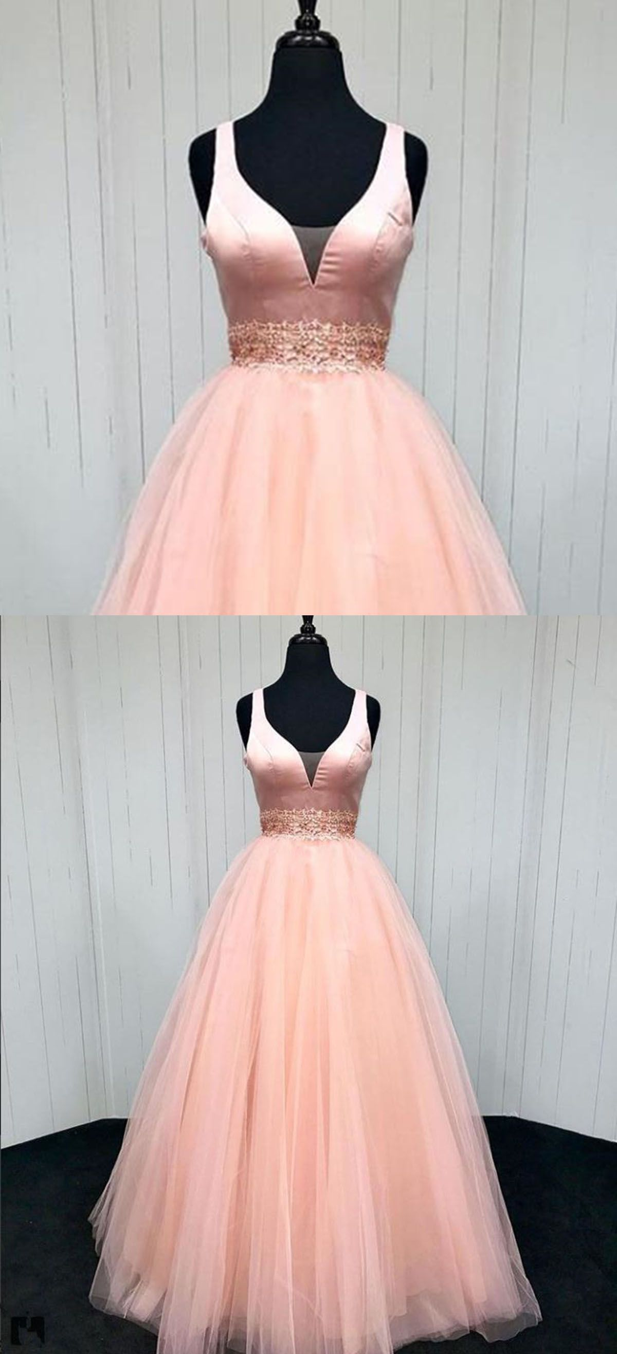 Pink prom dress tulle prom dress sweet prom dress cute vneck