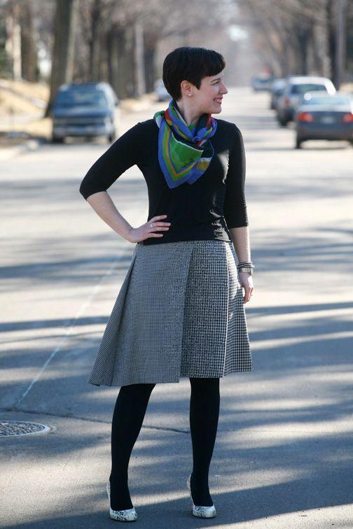 Vintage scarf, boatneck tee, asymmetric skirt, black opaques, snakeskin pumps
