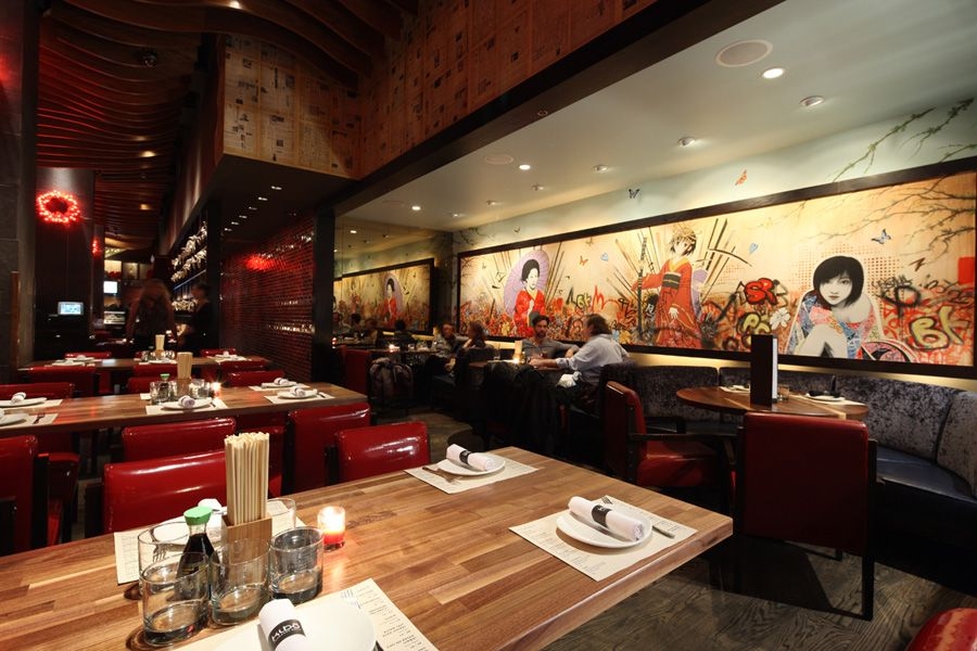 Decorating attractive japanese restaurant modern design wooden floor beautiful wallpaper - Restaurant decor supplies ...