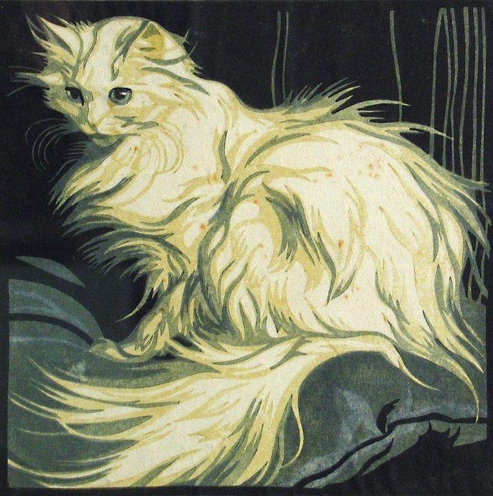 Norbertine von Bresslern-Roth (Austrian painter and printmaker) 1891 - 1978 Angora Cat, ca. 1926