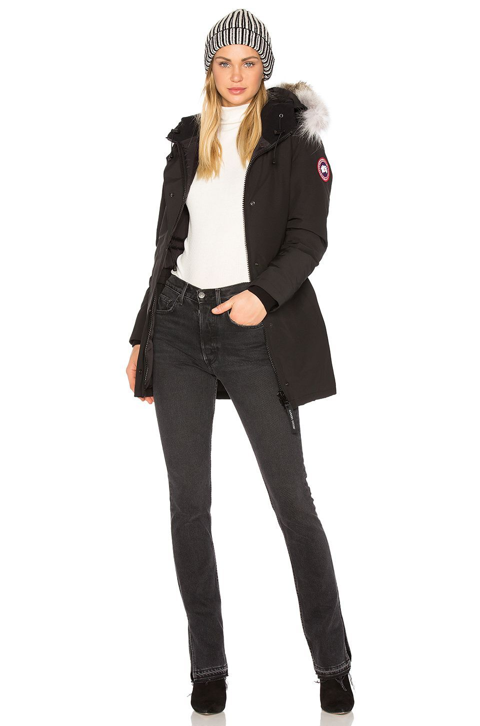 9547c7e7bfa Canada Goose Victoria Parka with Coyote Fur in Black | REVOLVE ...