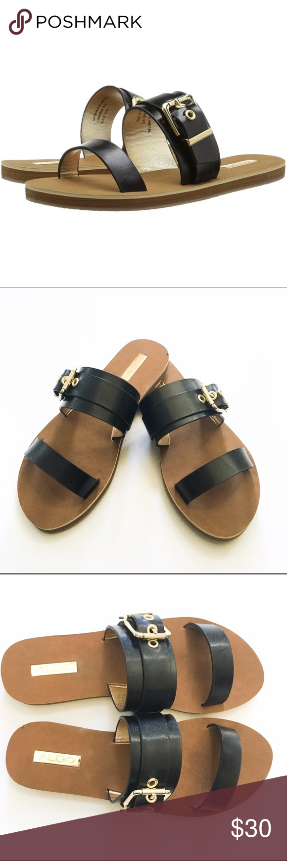 Aldo Eleanna Black Slide Sandals These are NWOT Aldo Eleanna Black Slide Sandals. In excellent condition. Never worn. Minor wear from storage. Reads size 6.5 in shoe but best fits size 6. Runs small. Aldo Shoes Sandals