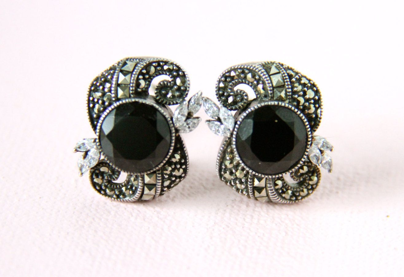 Vintage Sterling Silver Judith Jack Art Deco Marcasite French Clip Earrings By Foxymermaidboutique On Etsy