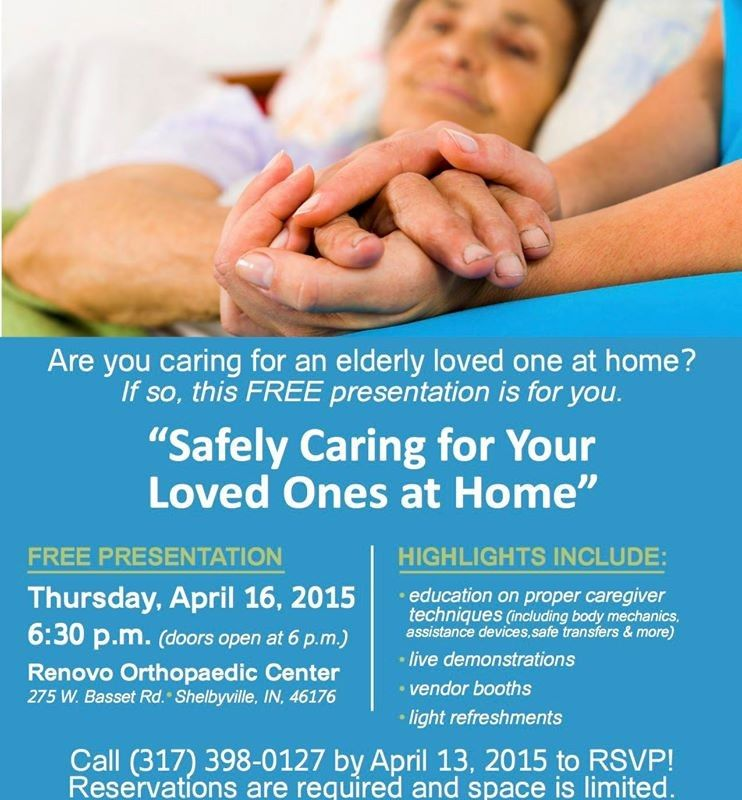 Safely Caring for Your Loved Ones at Home – Are you caring for an elderly loved one at home? If so, this FREE presentation is for you. Highlights Include: education on proper caregiver techniques (including body mechanics, assistance devices, safe transfers & more) live demonstrations vendor booths light refreshments RSVP! Space is limited!