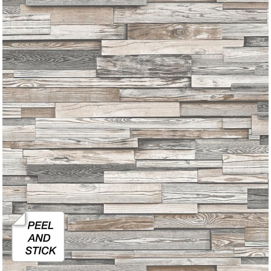 Nextwall 30 75 Sq Ft Light Gray And Brown Vinyl Wood Self Adhesive Peel And Stick Wallpaper Lowes Com Peel And Stick Wood Wood Vinyl Peel And Stick Wallpaper