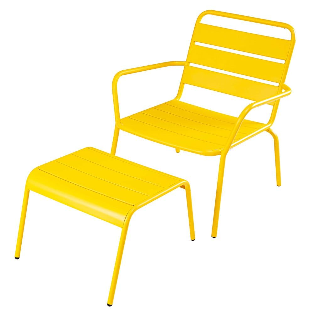 Parisian Gardenthe Batignolles Low Garden Chair And Its Yellow Metallic Footstool Will Immediately Transport You Outdoor Armchair Outdoor Chairs Garden Chairs
