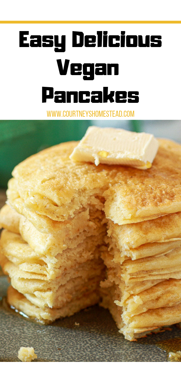 Easy Vegan Pancake recipe is the perfect breakfast.  Everyone always loves these. They are melt in your mouth delicious!