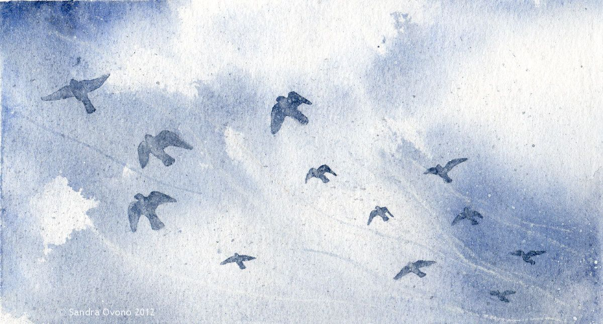 Original watercolor painting - Flock of birds in the wind. €34.00, via Etsy.