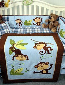 Monkey Boy Crib Bedding Set From Soho Designs Blue And Brown