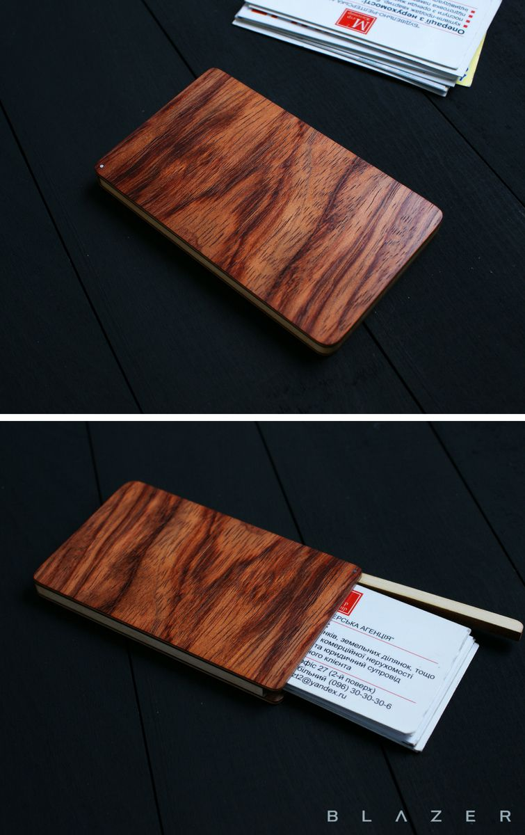 Wooden business card case, personalized monogram engraveble business ...