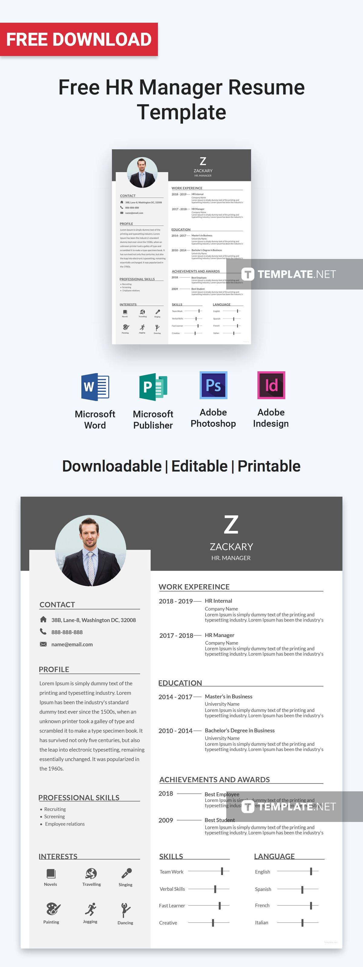 free hr manager resume free resume templates pinterest resume