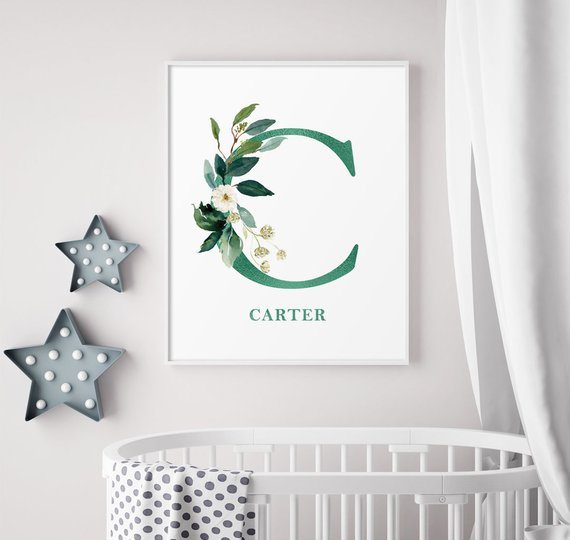 Green Decor C Personalized Monogram Custom Letter Print