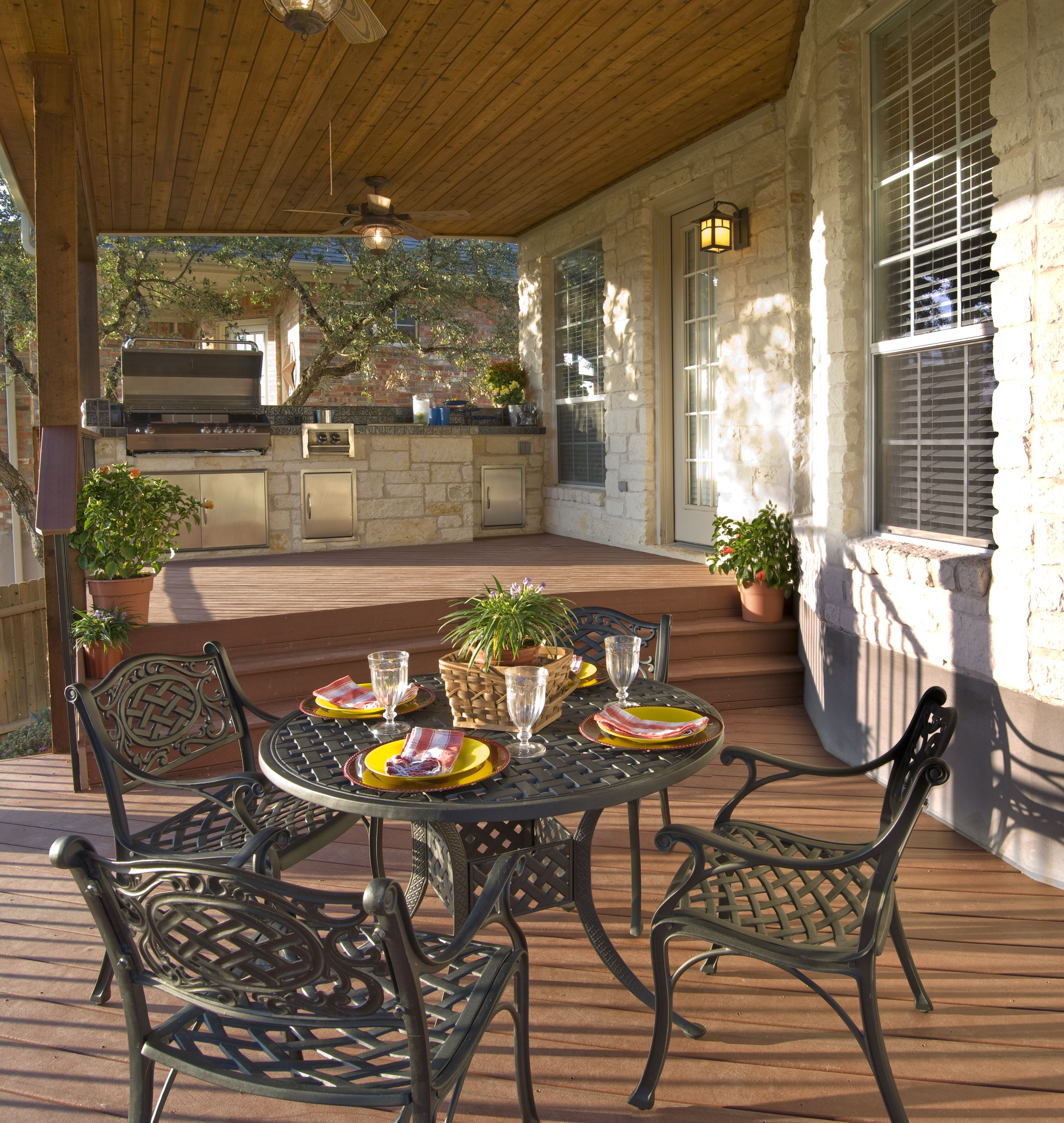 Outdoor Cooking Spaces Part - 41: A Two-step-change In Deck Levels Creates Two Separate Outdoor Spaces. One  For Cooking And One For Dining.