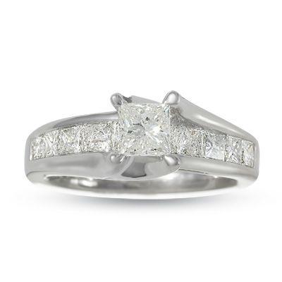 T W Princess Cut Diamond Bridge Engagement Ring In