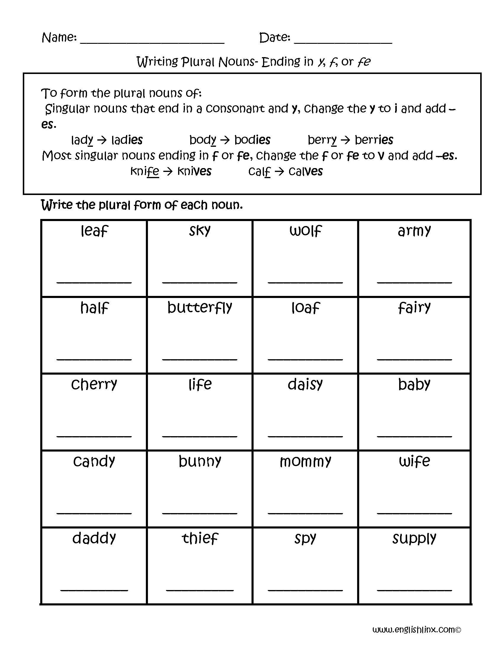 Resultado De Imagen Para Exercises With Words Singular