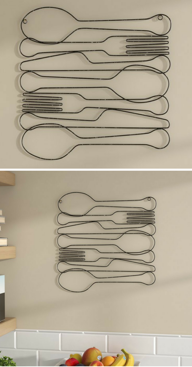 Fork knife and spoon kitchen metal wall decor silverware inspired