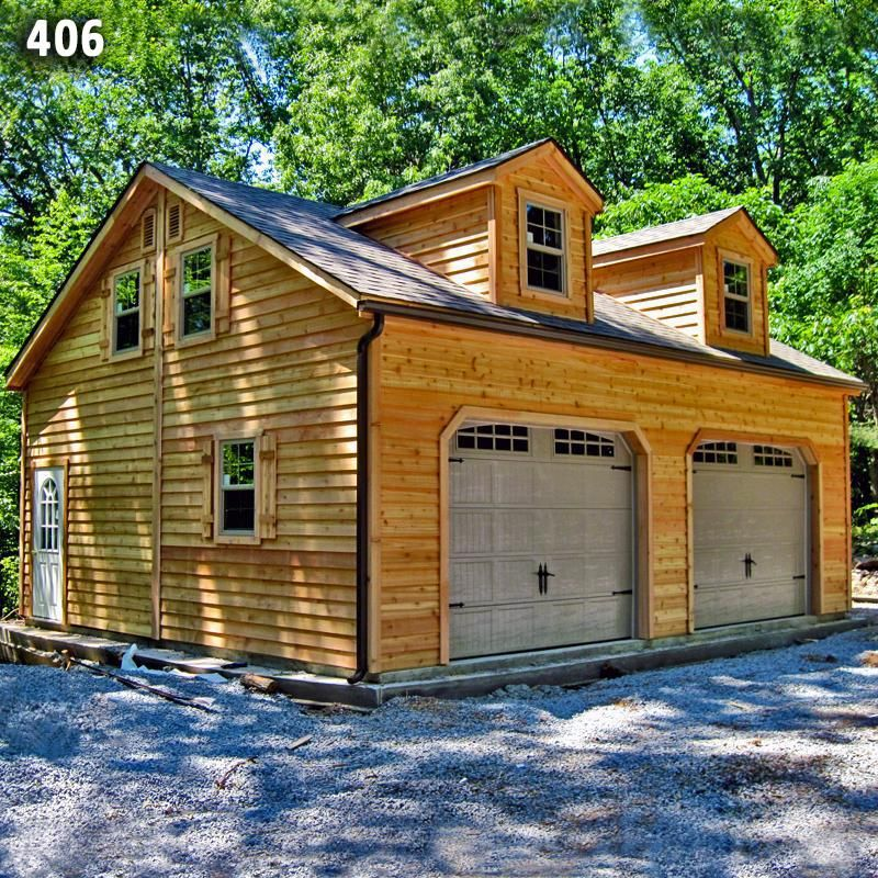 24x28 2 Car 2 Story Custom Dormer Garage Cedar Siding