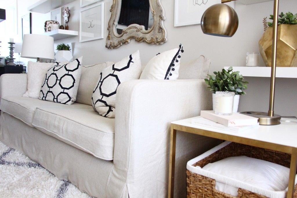 Comfort Works custom slipcover review for ikea karlstad sofa Oh
