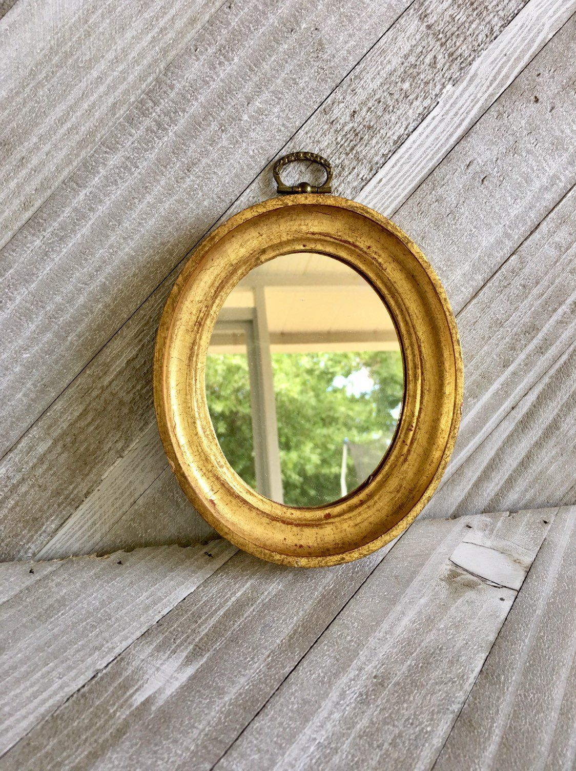 Small Gold Florentine Mirror, Oval Mirror, Made in Italy