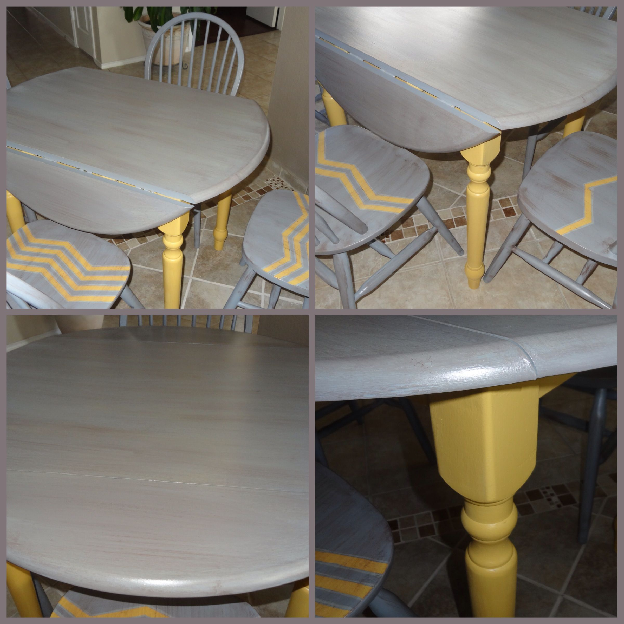 Beautiful Kitchen Table, Drop Leaf, Yellow And Gray Chalk