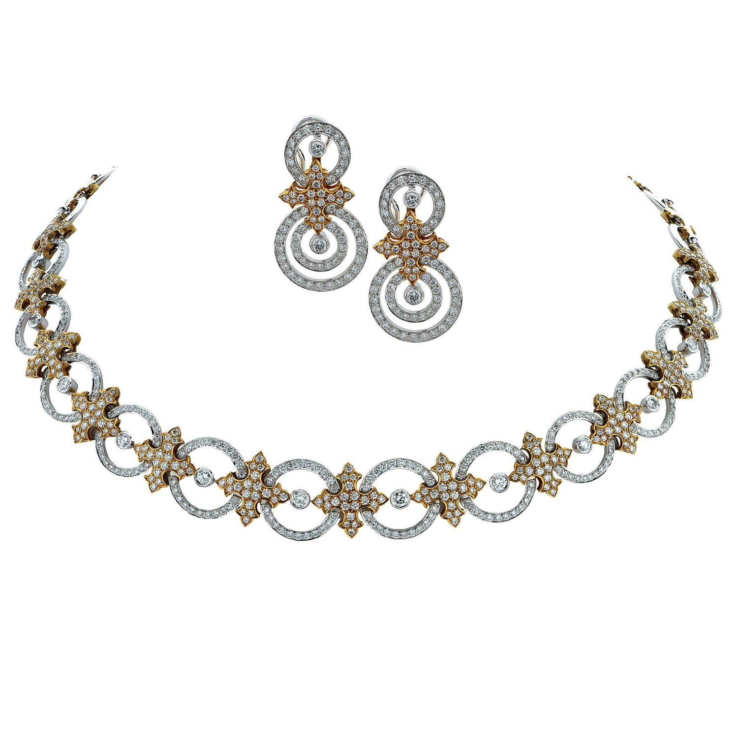 Diamond necklace and earring karat twotone gold set my stdibs