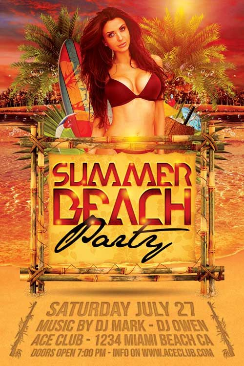 Summer Beach Party Flyer - http\/\/xtremeflyers\/summer-beach - summer flyer template