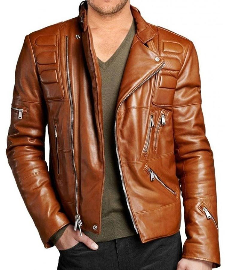 Mens Padded Brown Motorcycle Leather Jacket Leather