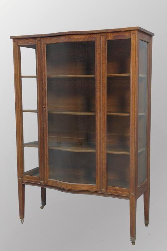 15884 Antique Oak Inlaid Serpentine Glass China Cabinet - 15884 Antique Oak Inlaid Serpentine Glass China Cabinet Home