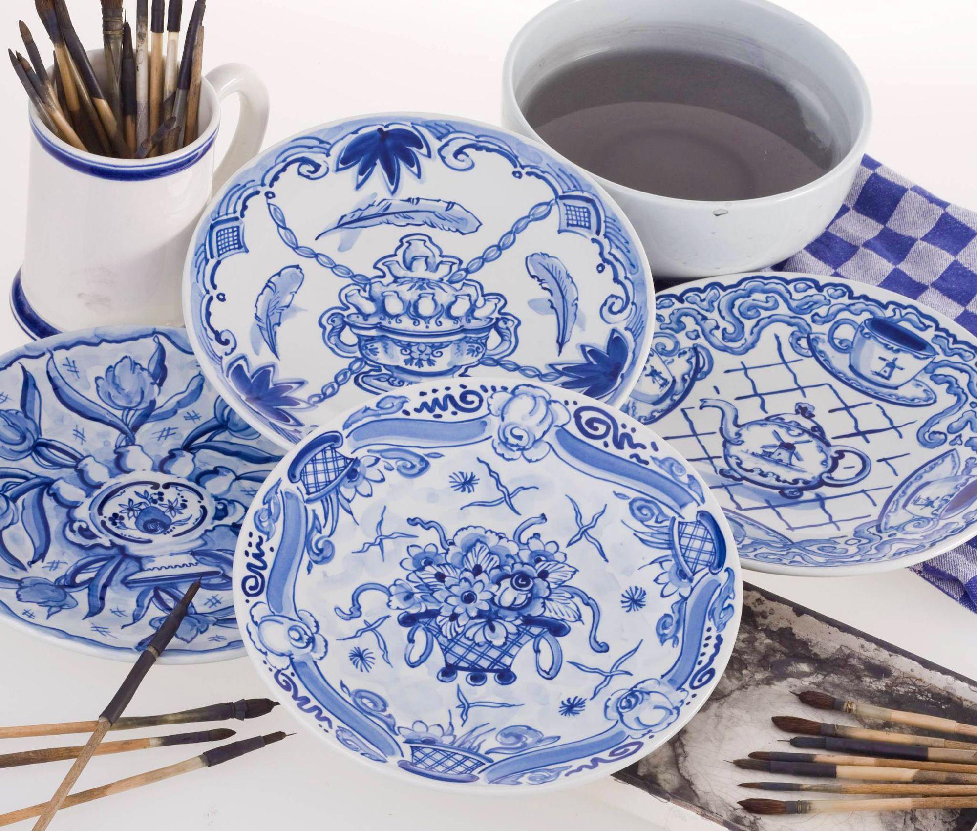 Servies Borden Set.Delfts Blauw Porselein Servies Borden Blue And White