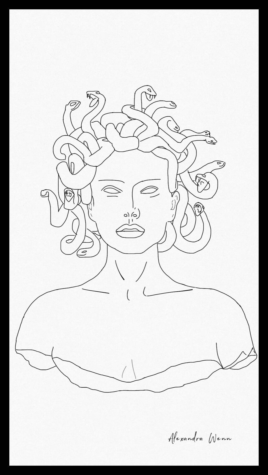En La Mitología Griega La Cabeza De Medusa Era Un Gorgoneion Un Amuleto Apotropaico Que Inducia Horror Al Most Desenho Hippie Arte Engraçada Desenho Da Medusa