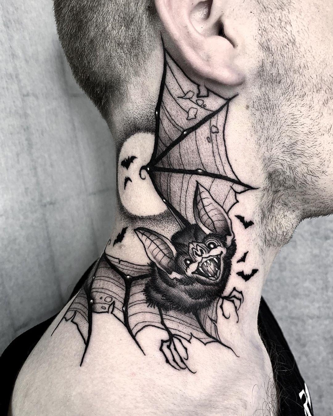 angeloparente in 2020 | Geometric throat tattoo, Halloween tattoos, Throat tattoo