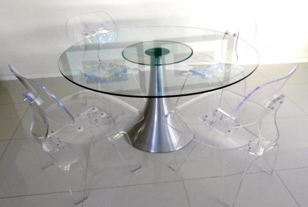 In A Mid Century Modern Palm Springs Dining Room: Handcrafted Eames Style  Lounge Chair Dining Set In Clear Acrylic By Designer And Master Craftsman,  ...