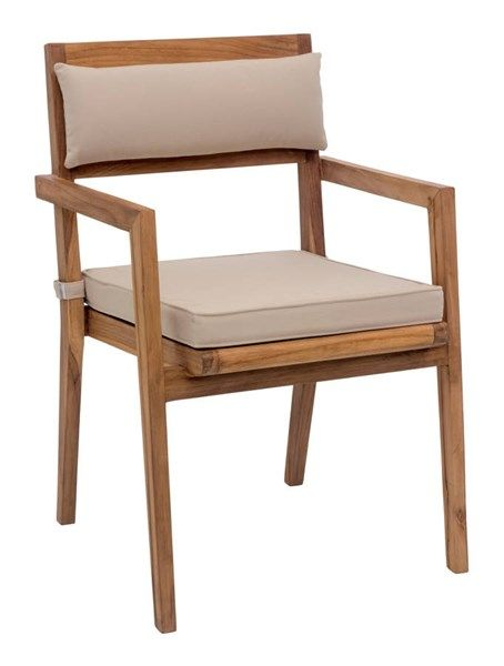 2 Nautical Vive Natural Wood Dining Arm Chairs W/Beige Cushions