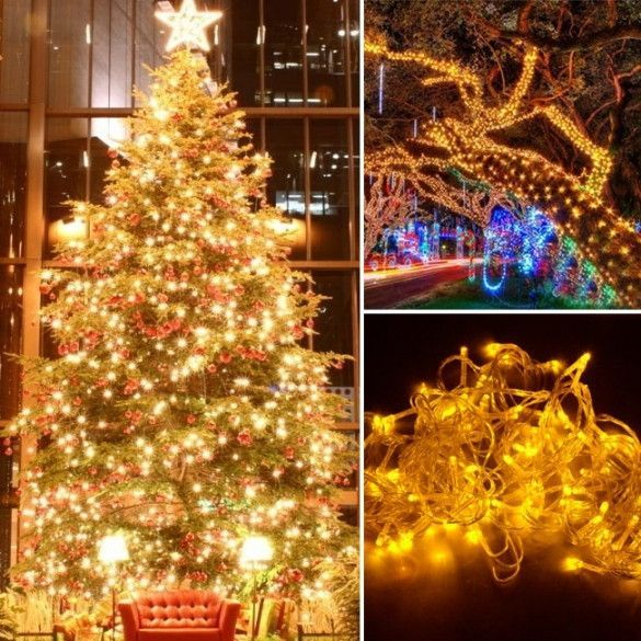 10M 100 LED Yellow Lights Decorative Christmas Party Festival